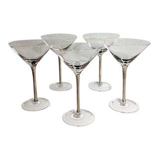 Vintage Silver Stem Martini Glasses - Set of 5