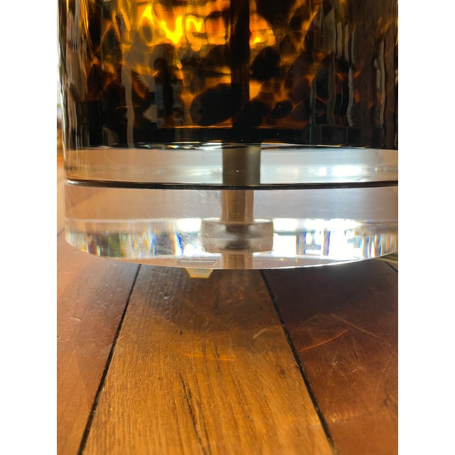 Mid-Century Modern Lucite and Faux Tortoiseshell Italian-Made Glass Table Lamps For Sale In Los Angeles - Image 6 of 9