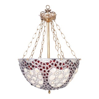 French Leaded Glass and Seashell Light Fixture For Sale