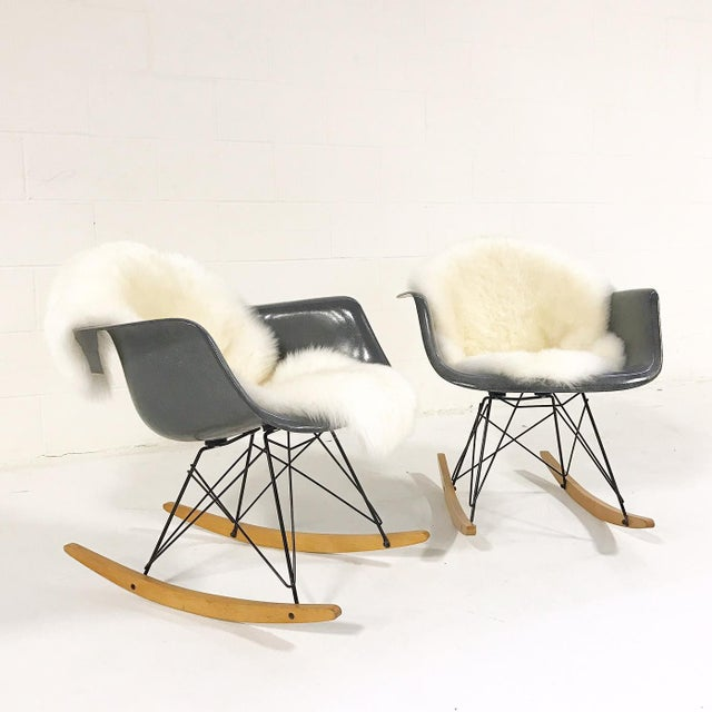 Charles & Ray Eames for Herman Miller Rar Rockers With Sheepskins - a Pair - Image 2 of 7