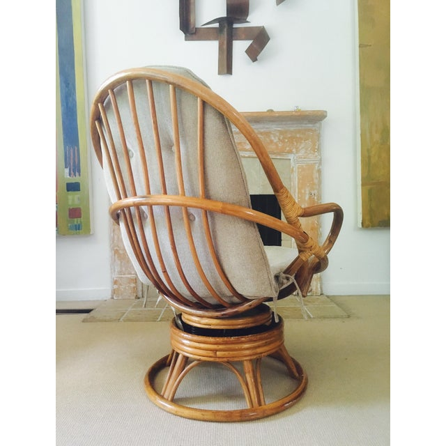 Vintage Bamboo Swivel Lounge Chair - Image 5 of 7