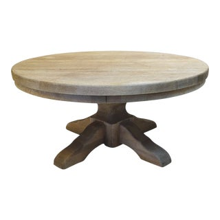 "40"" Round Wood Pedestal Base Farmhouse Coffee Table With Drawer For Sale"