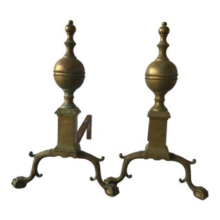 Pair of 1920s English Brass Andirons For Sale