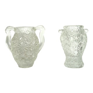 Pressed Glass Daisy & Button Toothpick Holder Urn - a Pair