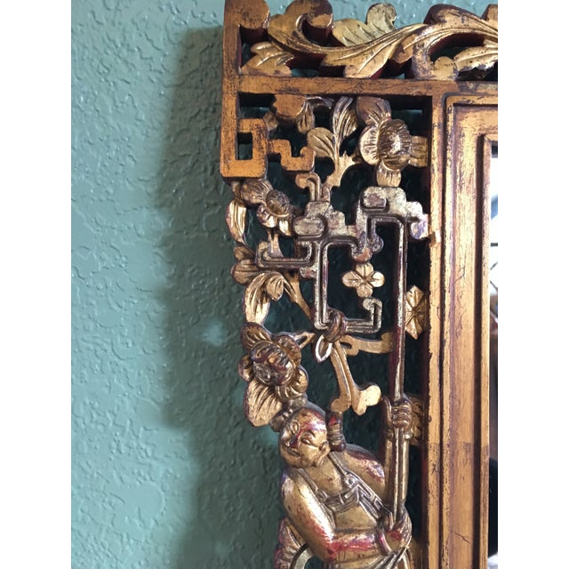 Chinese Hand Carved Figurative Relief Red/Gold Gilt Lacquered Camphor Wood Mirror For Sale In Seattle - Image 6 of 11