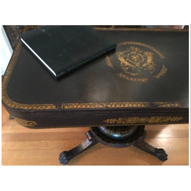 This is a New York Classical card table in mahogany with stenciled guilt. This piece has been fully restored to remove wax...