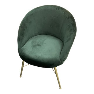 Emerald Velvet & Brass Side Chair For Sale