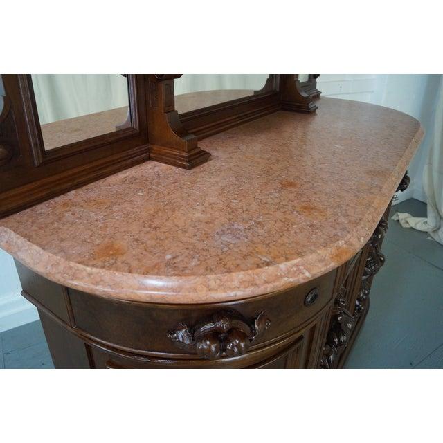American Renaissance Walnut Marble Top Sideboard - Image 9 of 10