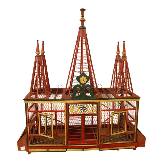 Americana Folk Art Circus Tent Style Original Painted Bird Cage For Sale