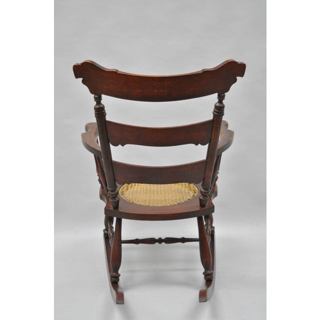 Antique Carved Mahogany Eagle Rocking Chair Rocker Victorian Figural Cane Seat - Image 9 of 12