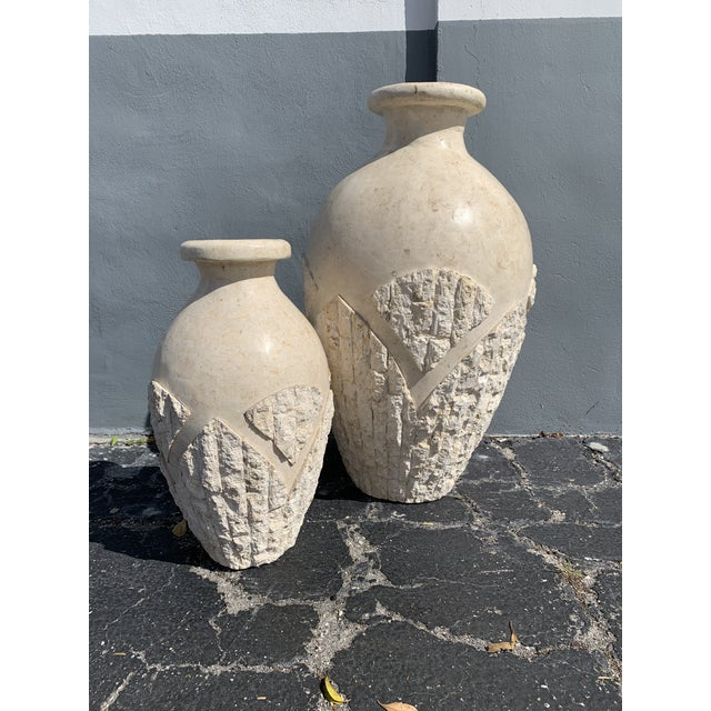 Tessellated Mactan Stone Floor Vases - A Pair For Sale - Image 12 of 12