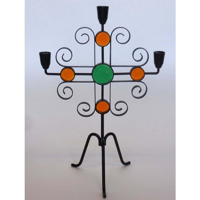 Seven Enameled Steel and Glass Candelabra For Sale - Image 4 of 5