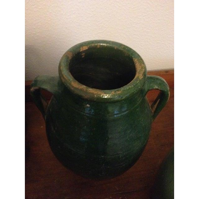 Vintage Turkish Green Pottery Jar For Sale - Image 4 of 5