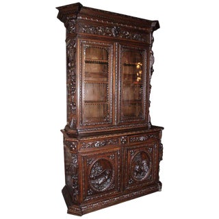 Antique French Hunt Style Bookcase For Sale