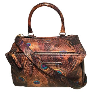 Givenchy Pandora Peacock Print Leather Shoulder Bag For Sale