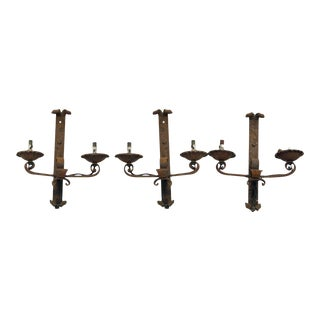 Antique Wrought Iron Sconces - Set of 3 For Sale