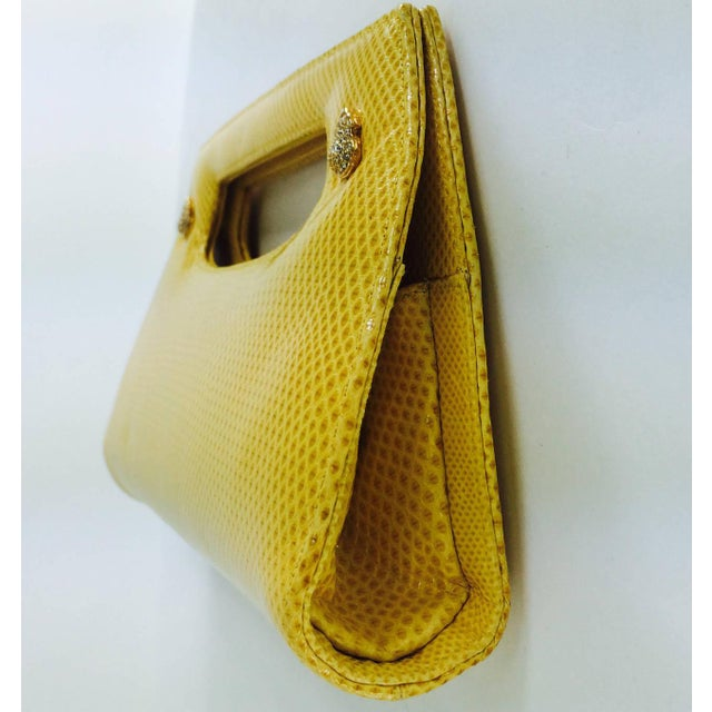 Early 21st Century Judith Leiber Yellow Karung Structured Handle Clutch Handbag For Sale - Image 5 of 10