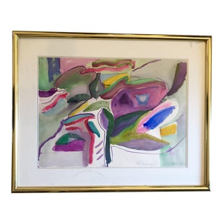 Vintage Pink and Purple Abstract, Signed and Framed For Sale