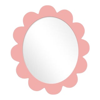 Fleur Home x Chairish Iris Oval Mirror in Pink Punch, 37x32 For Sale