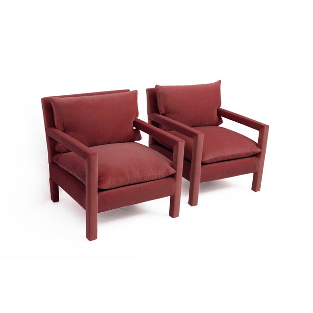 1970s 1970s Style Contemporary Parson's Chairs After Milo Baughman in Pink Velvet - a Pair For Sale - Image 5 of 5