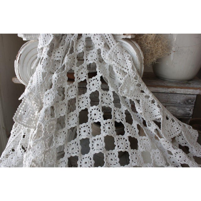 Antique French Handmade Lace Table Cover / Crochet Textile For Sale - Image 6 of 6