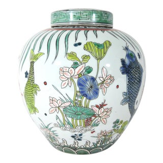 'Kangxi' Chinese Pink & White Lotus Flower Porcelain Ginger Jar With Green and Blue Fish For Sale