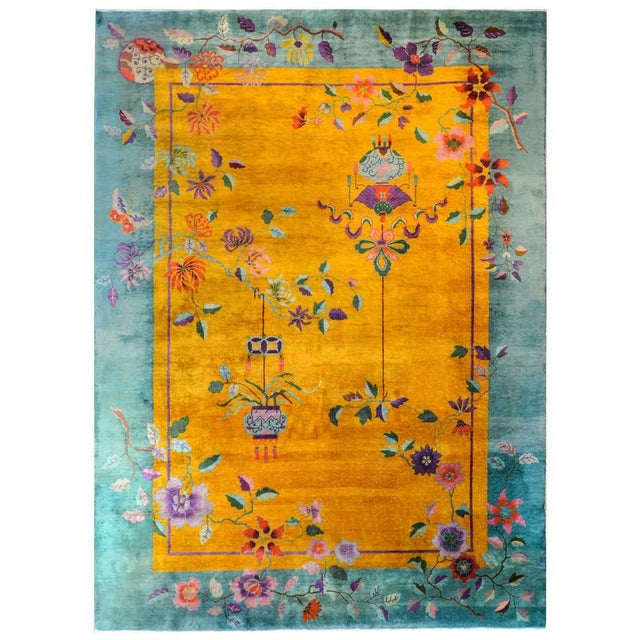 Vivid Early 20th Century Chinese Art Deco Rug For Sale - Image 12 of 12