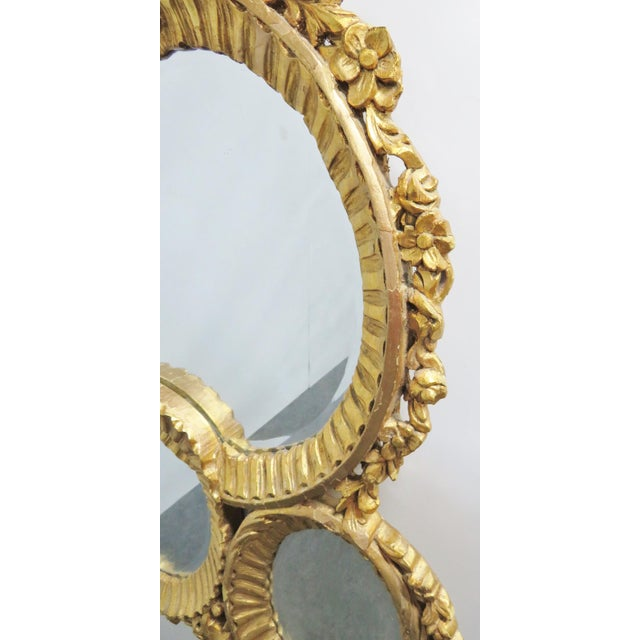 Baroque Italian Baroque Carved 3 Section Wall Mirror For Sale - Image 3 of 5