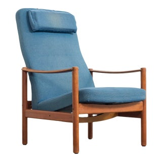 Vintage Mid Century Swedish Modern Folke Ohlsson for Dux (Attr.) Teak Wood & Blue Upholstery Recliner Lounge Chair For Sale
