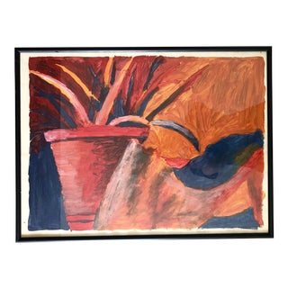 Vintage Abstract Still Life Painting, Framed For Sale