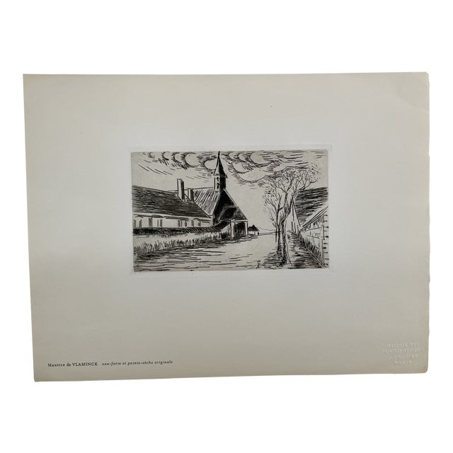 """1927 """"L'Eglise"""" Village Scene Drypoint Etching Attributed to Maurice De Vlaminck For Sale"""