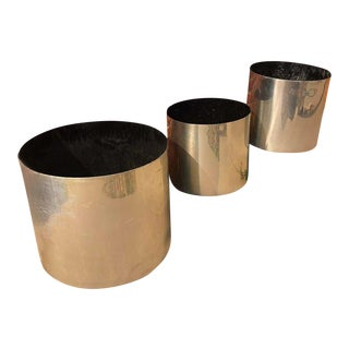 1970s Mid Century Danish Modern Smokador Cylinder Chrome Planters - Set of 3