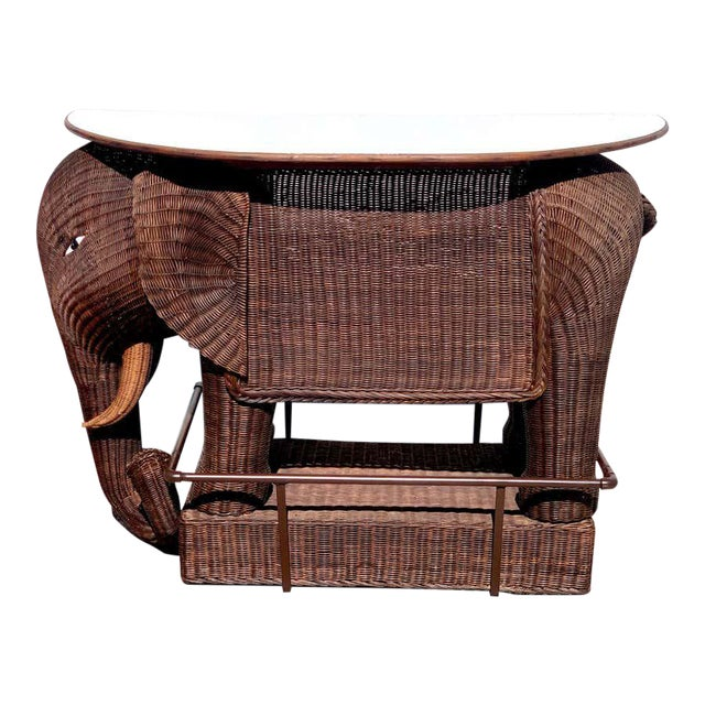 1960s Chinese Export Wicker Elephant Dry Bar For Sale