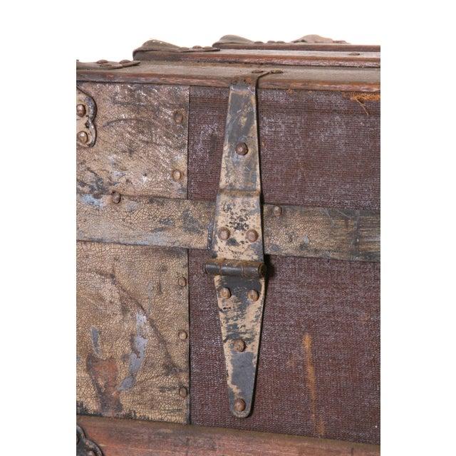 Victorian Wood & Metal Flat Top Brown Steamer Trunk - Image 11 of 11