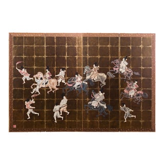 """""""Samurai Dressed Parade"""" Japanese-Style 6-Panel Ink on Gold Foil Paper Folding Screen by Lawrence & Scott For Sale"""