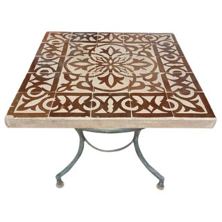 "Moroccan Brown/Natural Mosaic 20"" Square Table For Sale"