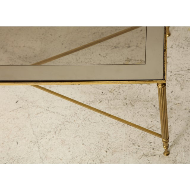 Rectangular Brass Coffee/Cocktail Table With Smoked Glass on Stretcher Base For Sale In New York - Image 6 of 11