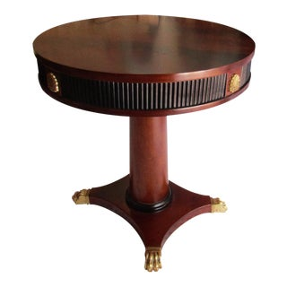 Franchise Malone Round Ebonized Gold Accent Claw Foot Side Table For Sale