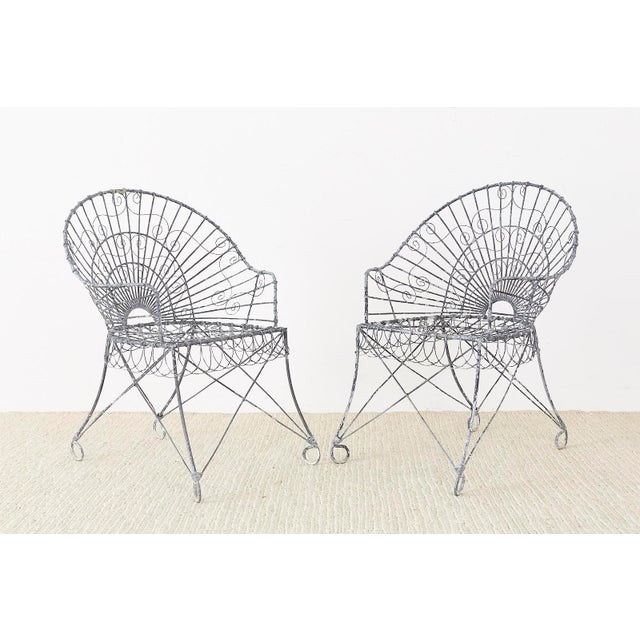 Art Nouveau Set of Four French Iron and Wire Garden Chairs For Sale - Image 3 of 13