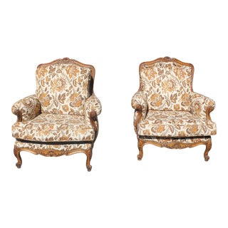 1920s French Louis XV Bergere Chairs Solid Walnut - a Pair