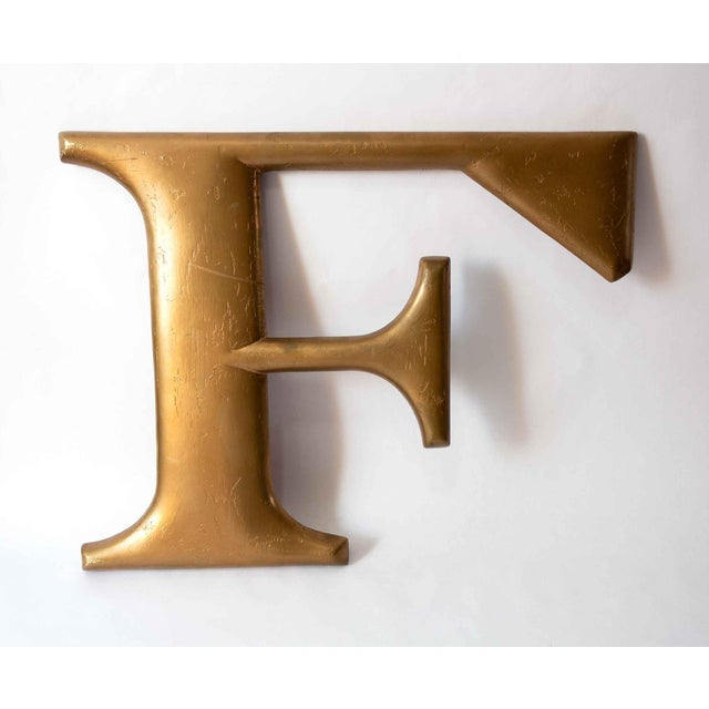 1950s Mid Century Gold Letter F For Sale - Image 5 of 5