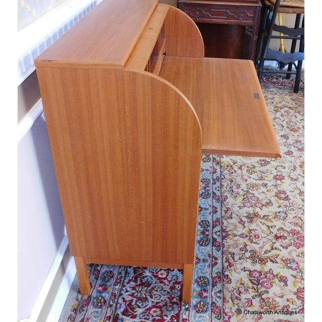 Egon Ostergaard Scandinavian Teak Cylinder Desk For Sale In New York - Image 6 of 9