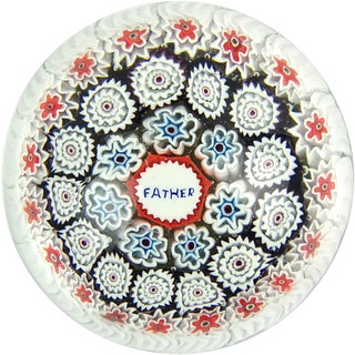 Fratelli Toso Murano Millefiori Father Murrine Italian Art Glass Paperweight For Sale