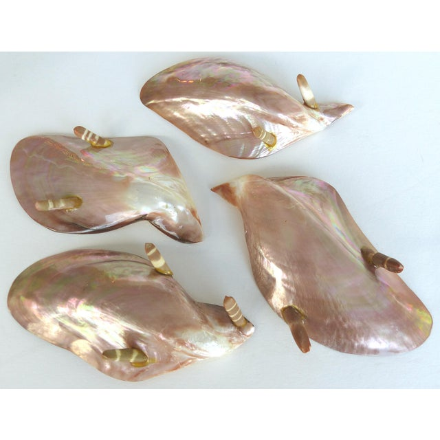 Mid 20th Century Vintage Seafood Cocktail Pink Abalone Shells Dishes - Set of 4 For Sale - Image 5 of 8