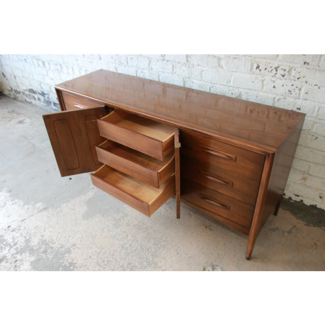 Brown Broyhill Emphasis Mid-Century Modern Sculpted Walnut Triple Dresser Credenza For Sale - Image 8 of 12