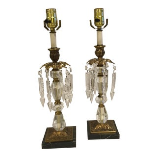 Vintage Marble, Crystal, and Aged Brass Lamps - a Pair For Sale