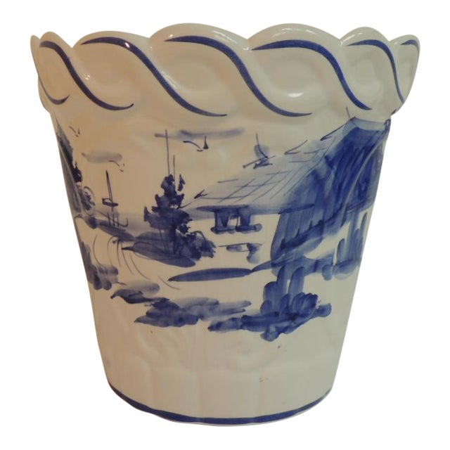 Vintage Blue & White Hand-Painted Ceramic Planter - Image 1 of 6