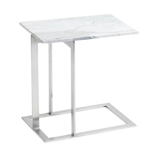 Minimalist DwellStudio Dimas Side Table in Marble and Silver For Sale