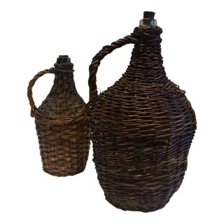 Vintage French Demijohn Wicker Bottles - Pair