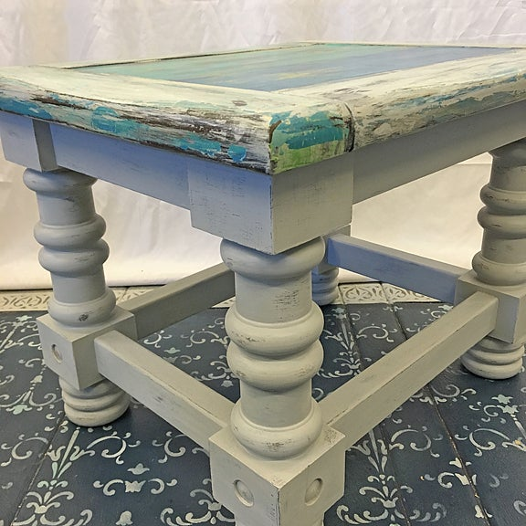 Cottage Rustic Coastal Solid Wood Side Table For Sale - Image 3 of 6